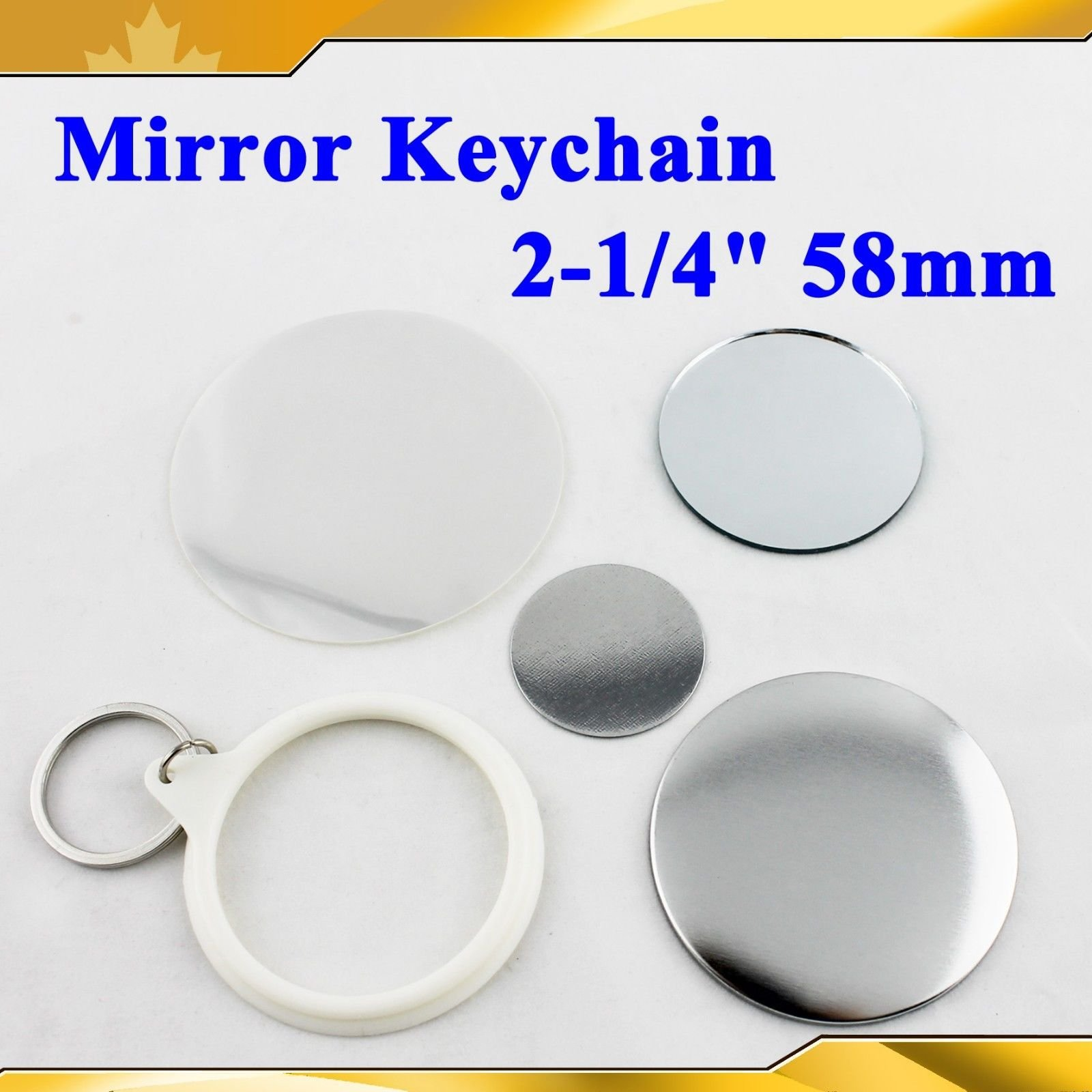 Mirror Keychain 58mm 2-1/4'' Supplies 100sets for Pro Maker Machine Commerciadiy by Button Maker