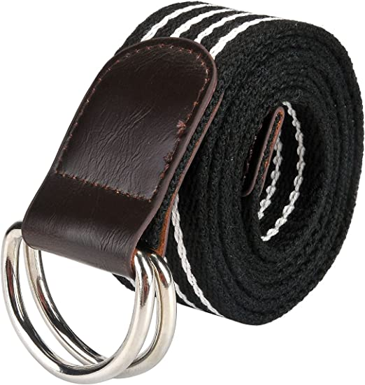 US NEW Canvas Web D Ring Belt Silver Buckle Military Style for men /& women