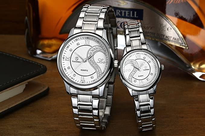 Amazon.com: Couple Watches Quartz Waterproof Wristwatches for Lovers Pair in Package Silver Dial Stainless Steel Band: OOFIT: Watches
