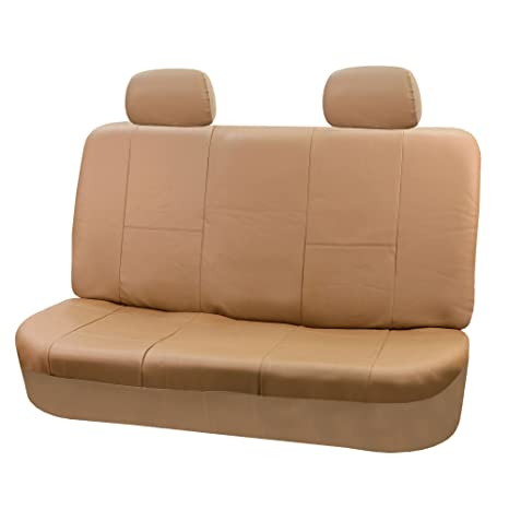 Phenomenal Fh Group Fh Pu001R012 Universal 4Pcs Solid Bench Leather Seat Cover Tan Fit Most Car Truck Suv Or Van Theyellowbook Wood Chair Design Ideas Theyellowbookinfo