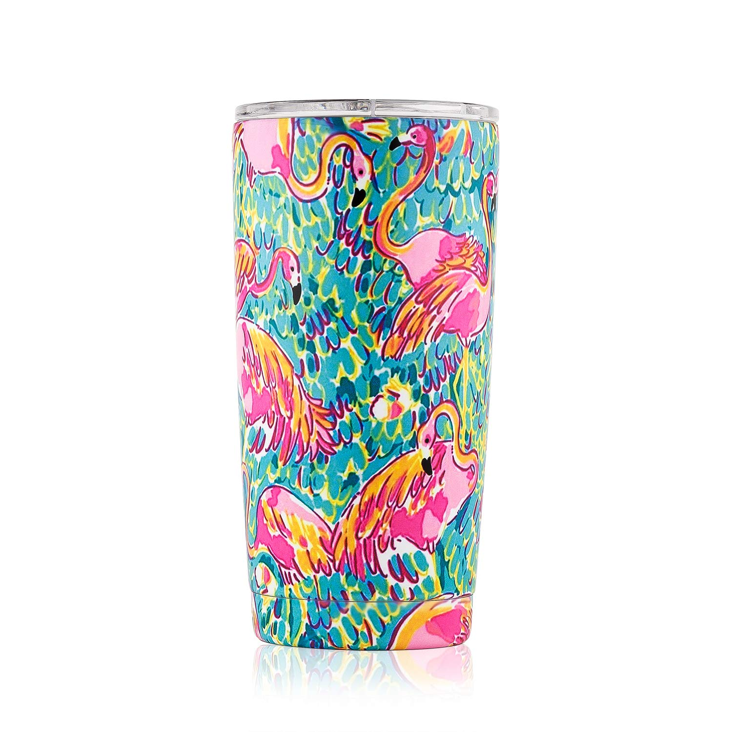DOKIO 20 oz Flamingo Painting Double Wall Vacuum Insulated Tumbler with Lid Sippy Cup For Adults Wine Glass Travel Cup Stemless Stainless Steel For Ice Drink & Hot Drink Coffee Outdoor Camping