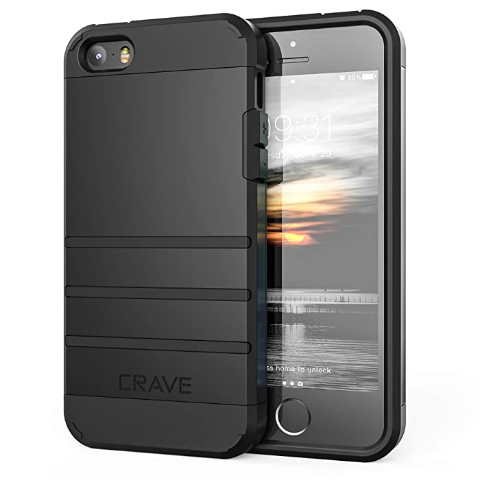 Crave Case for iPhone SE Case, iPhone 5s, Strong Guard Protection Series Heavy-Duty Case for iPhone 5 5s SE - Black