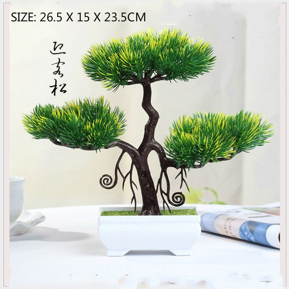 BWLZSP 1 PCS Welcome pine simulated green plant pot home living room decoration desk window wine cabinet decorative fake flowers (Artificial plants) AP523915 (Color : Yellow Green)