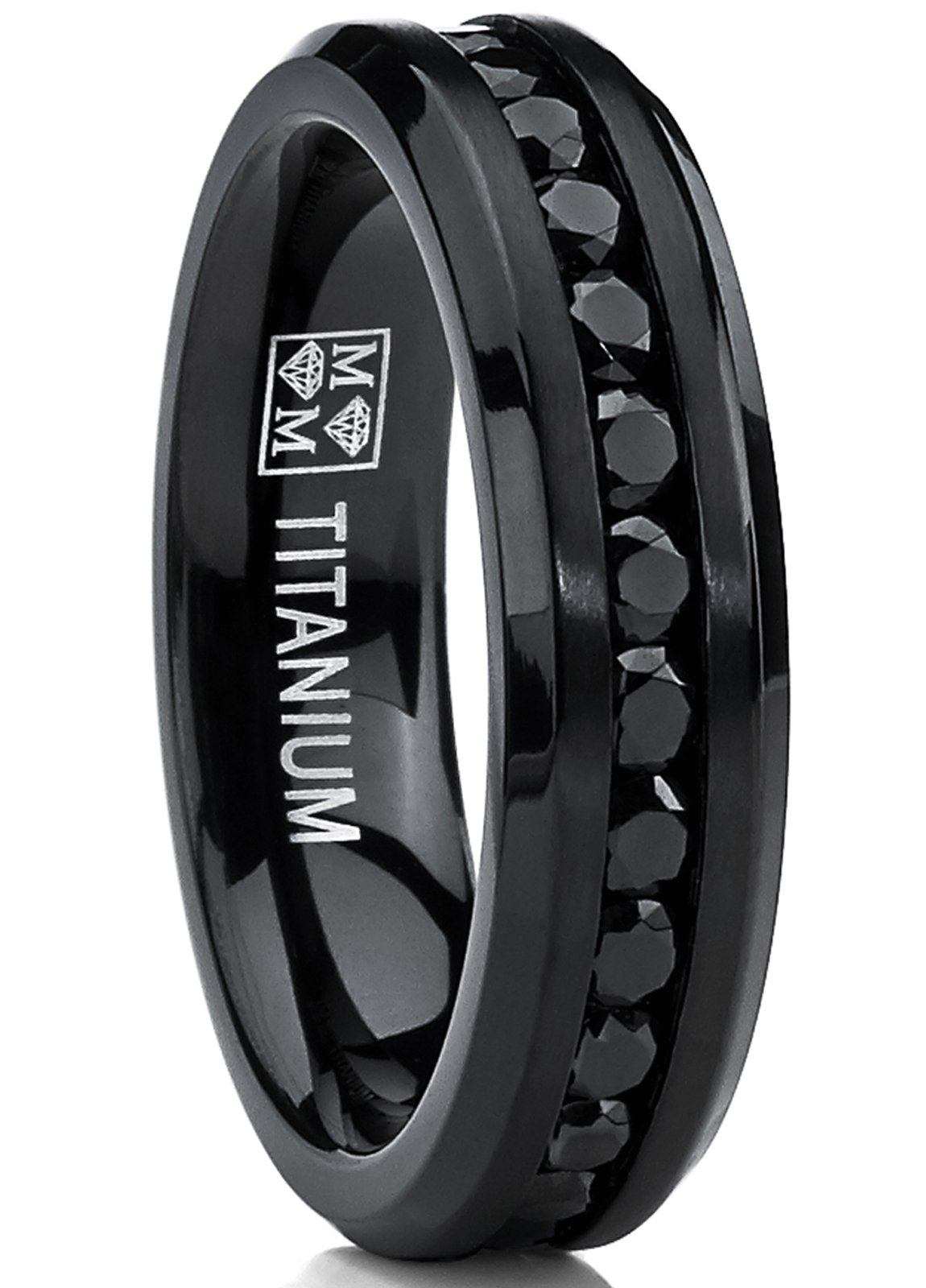 Metal Masters Co. 6MM Black Womens Eternity Titanium Ring Wedding Band W/Black Cubic Zirconia Size 7