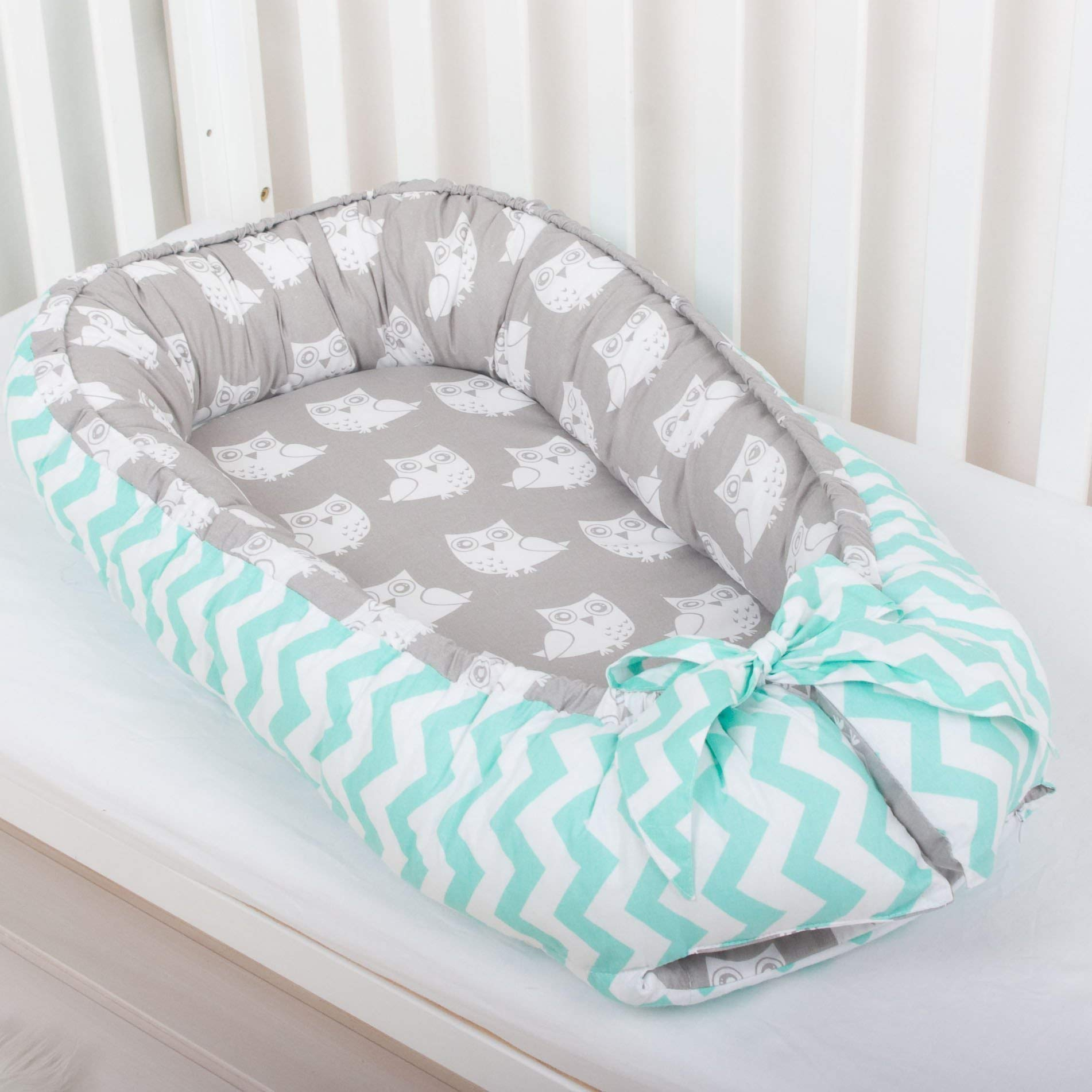 Baby nest bed or toddler size nest, mint and owls, portable crib, co sleeper babynest for newborn and toddlers
