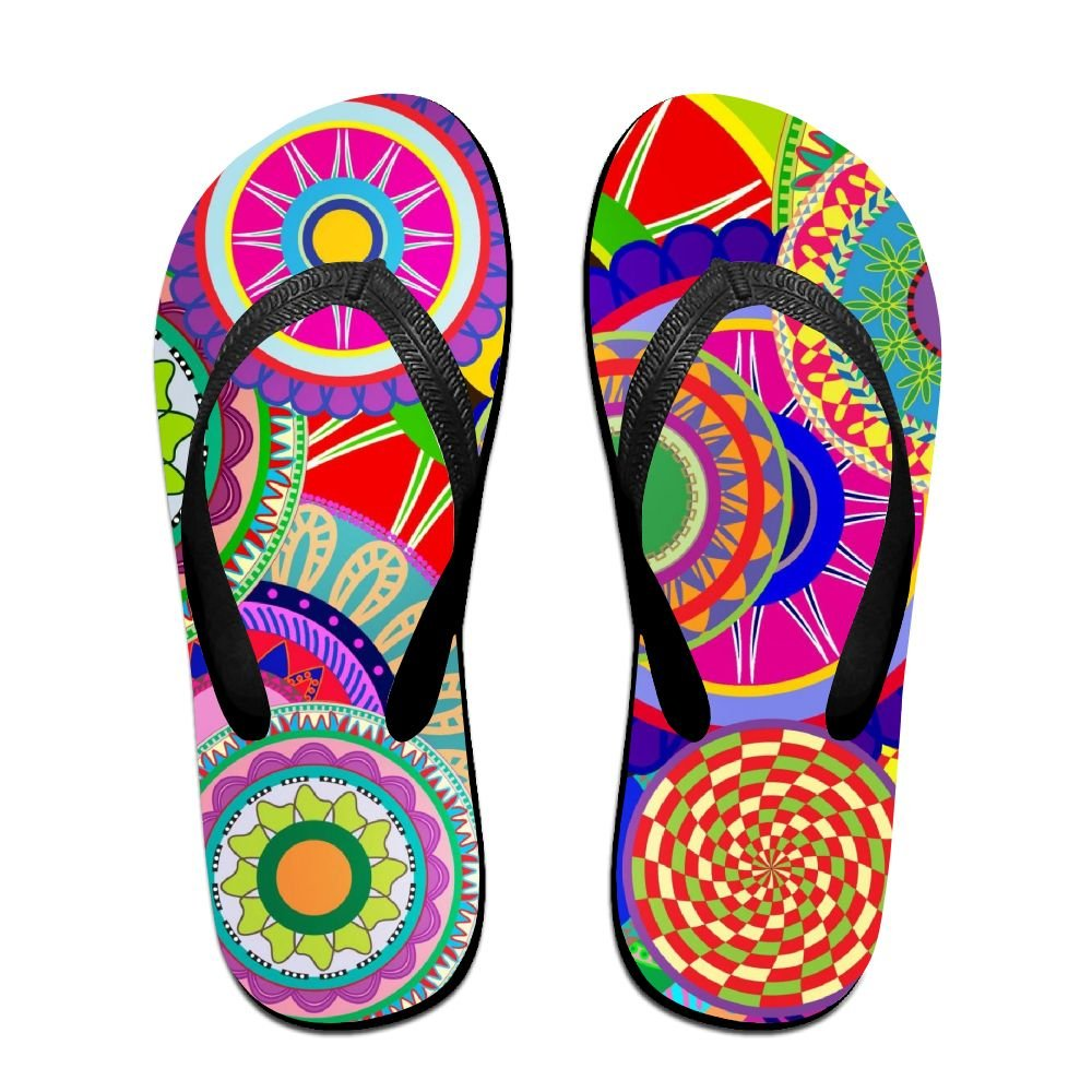 Unisex V Flip Flops Cool Colorful Circles Personalized Summer Slipper