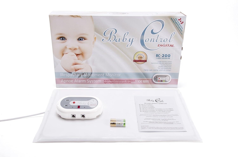 BabyControl Digital BC-200 - Monitor Respiración Bebé para Control Ritmo Respiratorio y Apneas + 1 Placa de detección: Amazon.es: Bebé