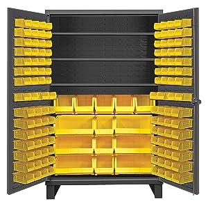 "Durham Extra Heavy Duty Welded 12 Gauge Steel Cabinet With 134 Bins, HDC48-134-3S95, 1200 lbs Shelf Capacity, 24"" Length x 48"" Width x 78"" Height, 3 Shelves"
