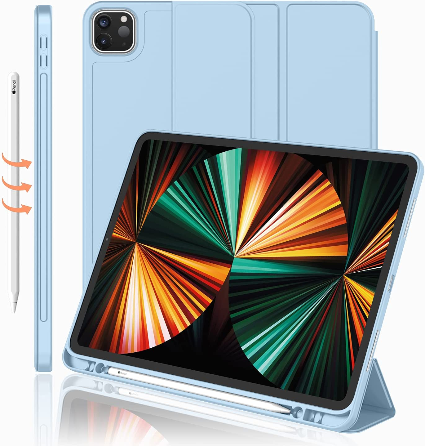 iMieet New iPad Pro 12.9 Case 2021(5th Gen) with Pencil Holder [Support iPad 2nd Pencil Charging/Pair],Trifold Stand Smart Case with Soft TPU Back,Auto Wake/Sleep(Sky Blue)