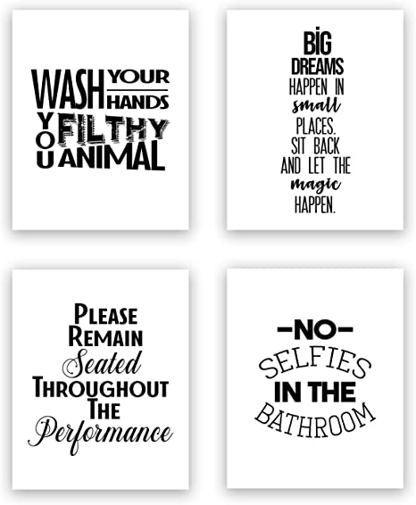 Amazon Com Funny Bathroom Art Prints Unframed Wall Art Set Of 4 Quotes Eleven Sets Available Set 2 Everything Else