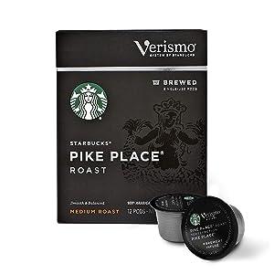 Starbucks Verismo Pike Place Roast Brewed Coffee Single-Serve Verismo Pods, Medium Roast, 6 boxes of 12 (72 total Verismo pods)