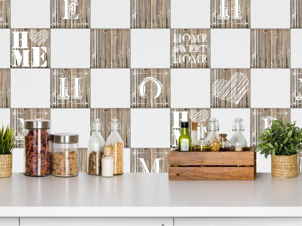 Grazdesign 770503 10x10 Fs10st Fliesenaufkleber Holz Home Sweet