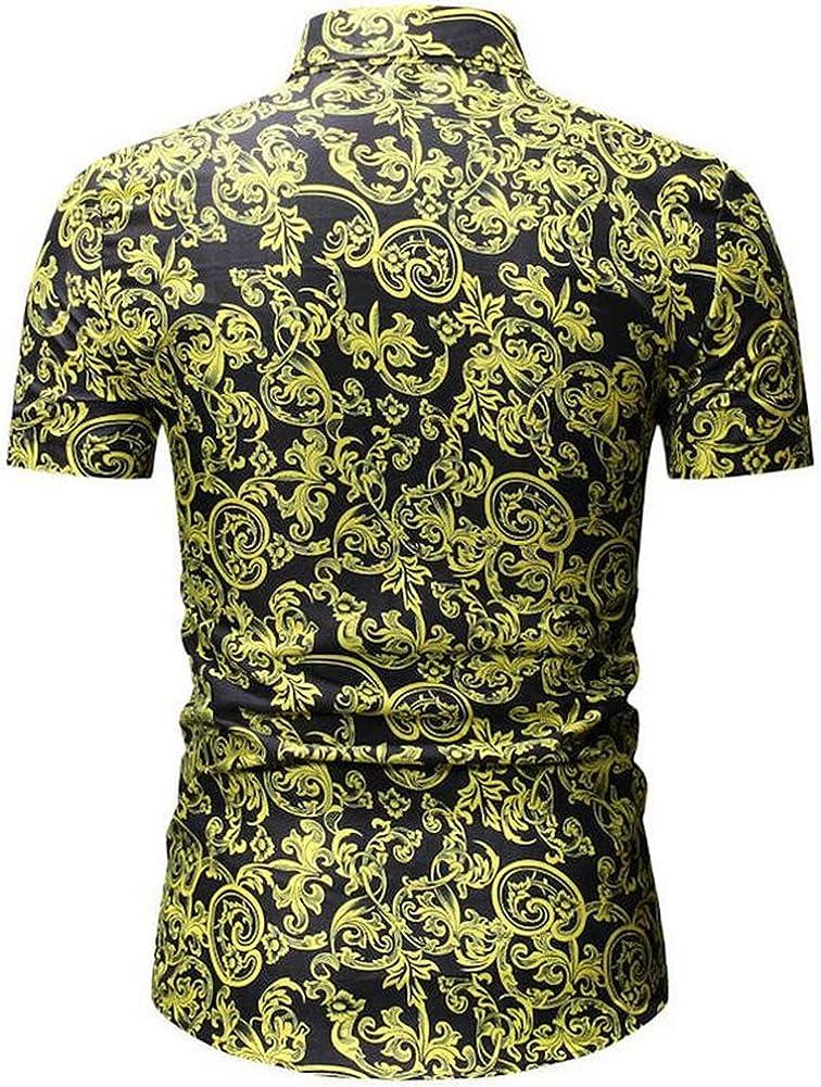 QHF Mens Hawaiian Printed Shirt Mens Summer Beach Shirt Short Sleeve Casual YS24-black,M