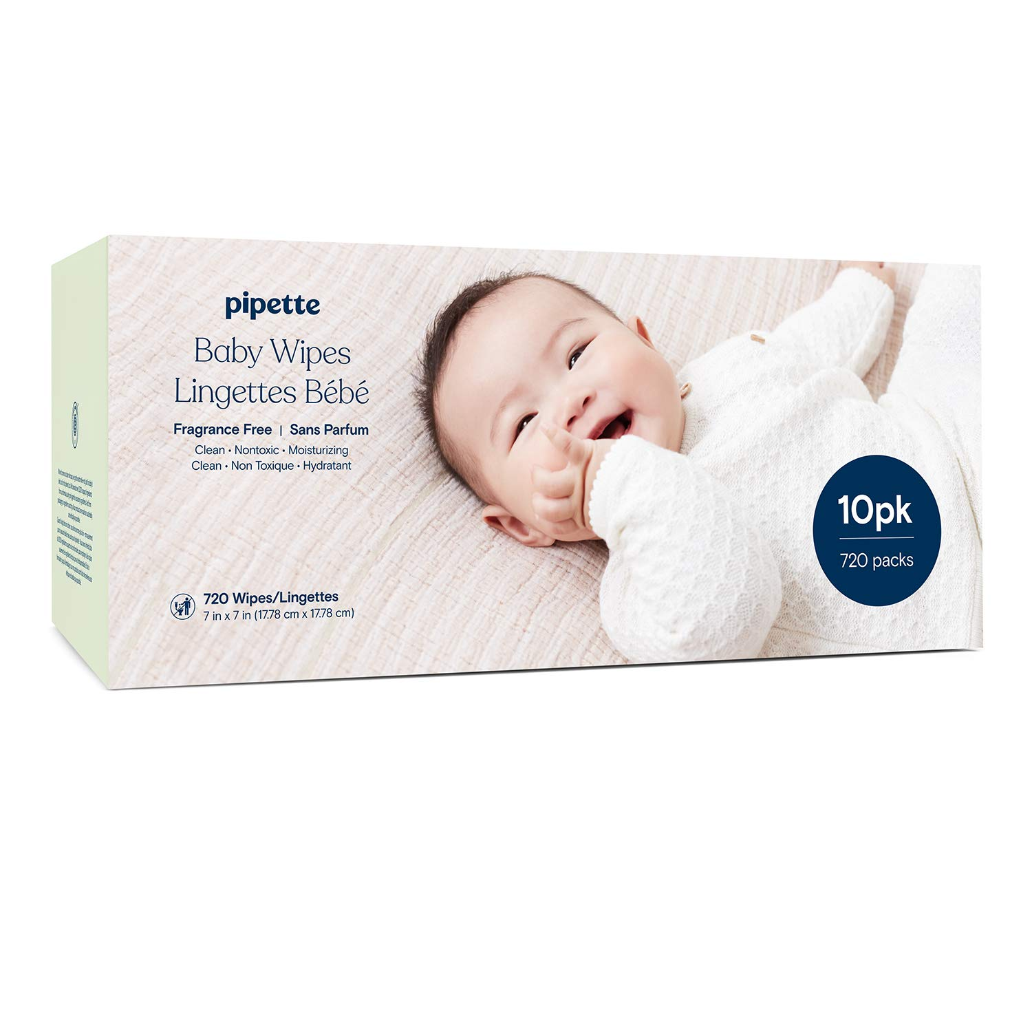 Pipette Baby Wipes with 100% plant-based fibers and plant-derived moisturizers, water-based (Fragrance-Free, 720-Count)