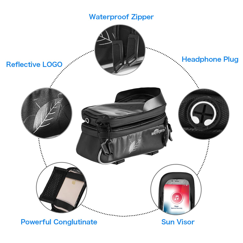 PU Mat/ériau et TPU /Écran Tactile Double Pouch Sacoche Support Smartphone Au-Dessous de 6,0 Pouces TAKEBEST Sacoche V/élo T/él/éphone Etanche