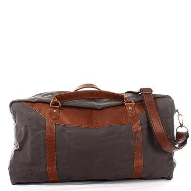 2eb9b5e3b1df20 LECONI große Reisetasche Weekender Reisegepäck Handgepäck Sporttasche für  Damen und Herren Leder + Canvas 53x28x25cm grau