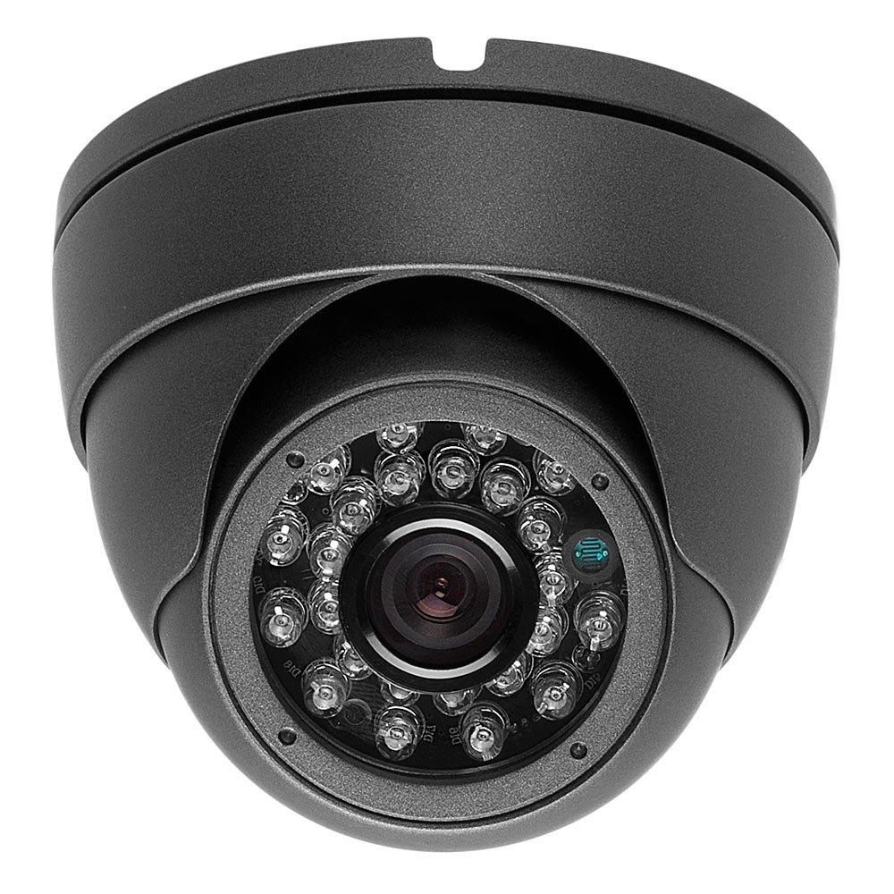 2 Megapixel 1080P Dome IR HD-CVI HD-TVI AHD CVBS 700TVL (4 options in 1) Camera 24IR 2.8mm WIDE ANGLE lens Vandalproof Small Indoor Outdoor Aluminum Housing Security Camera for Gray Color