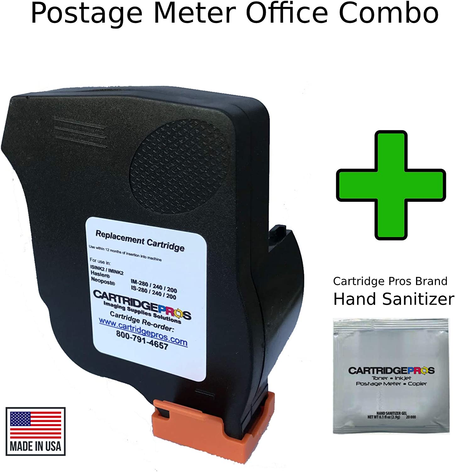Made in USA Cartridge Pros Red Ink Cartridge ISINK2 for Neopost IS200, IS240 and IS280 Postage Machines. + Hand Sanitizer Gel Packet
