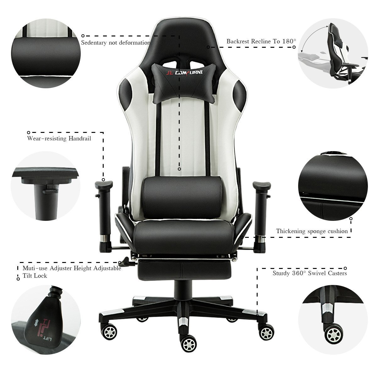 Silla de gaming de JL Comfurni, silla ergonómica giratoria de piel sintética, para casa, oficina y escritorio, reclinable, silla de estilo deportivo ...