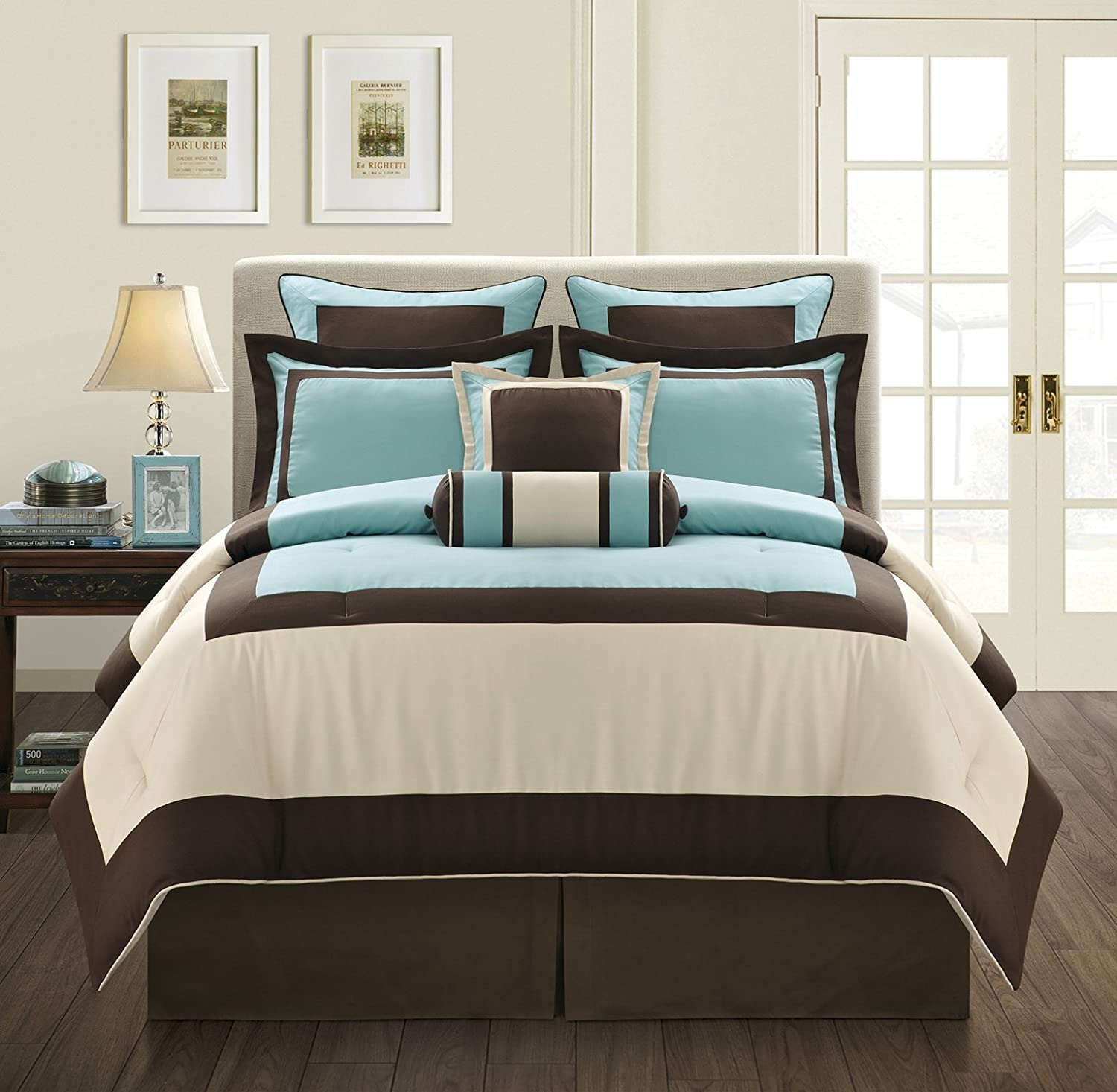 Fashion Street Gramercy 8-Piece Comforter Set, Queen, Aqua/Brown