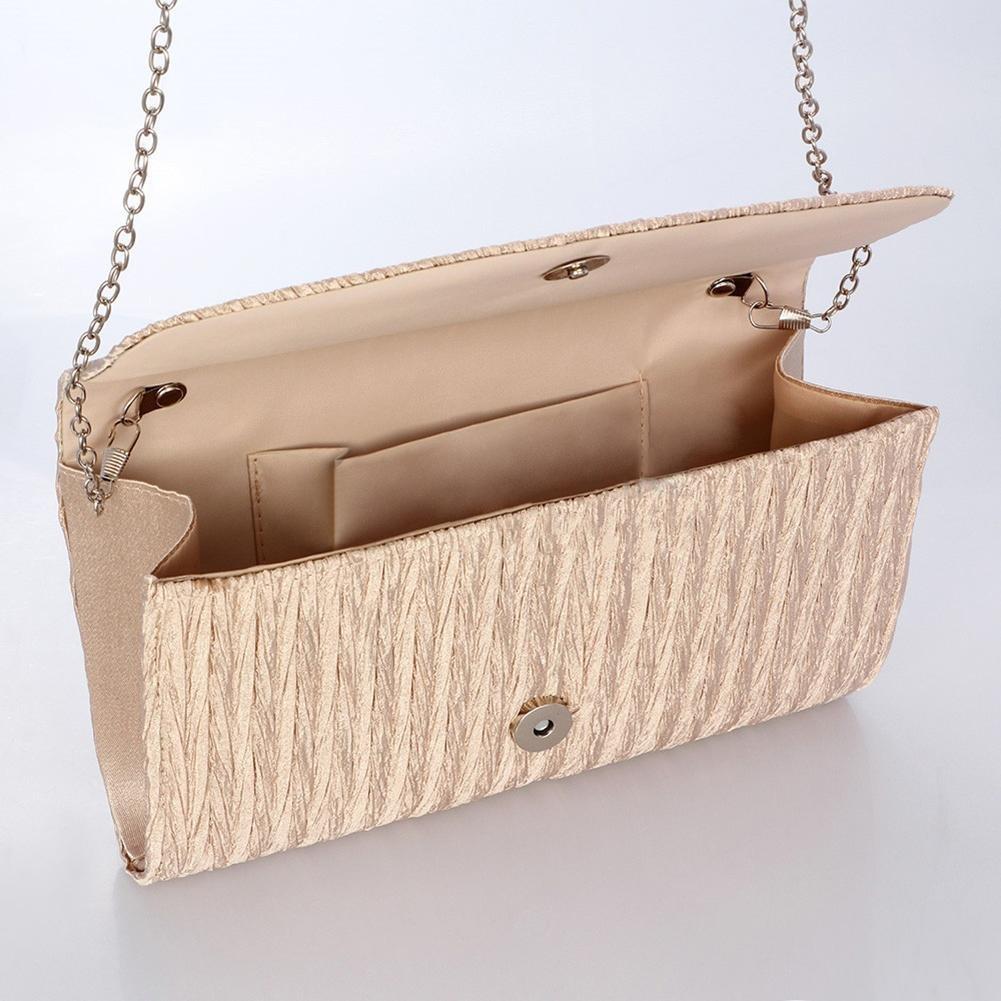 Heitaisi Women Girl Purse Evening Envelope Clutch Bag Pleated Satin Clutch Tote Bag Party Bride Crossbody Bag