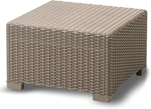 Yukon Glory Premium Weather Resistant Outdoor Coffee Table Ottoman Wicker Design Easy Assembly