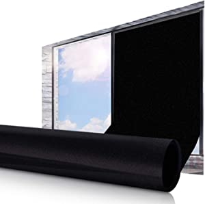 ESSORT Window Privacy Film, One Way Mirrored Film, Anti UV Sunscreen Sunblock Film, Self-Adhesive Heat Control, for Office Home Daytime Privacy (17.7 Inch x 6.5 Feet, All Black - Static Cling)