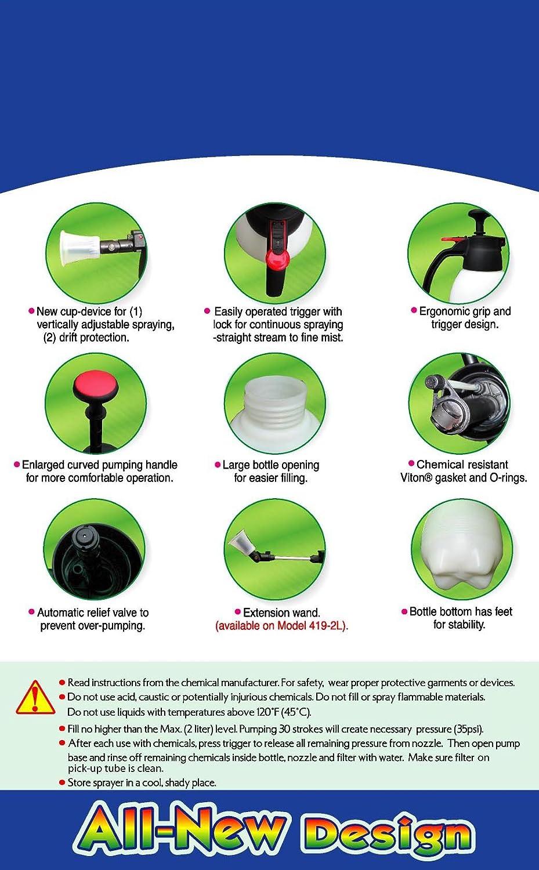 Solo 419 2-Liter One-Hand Pressure Sprayer, Ergonomic Grip