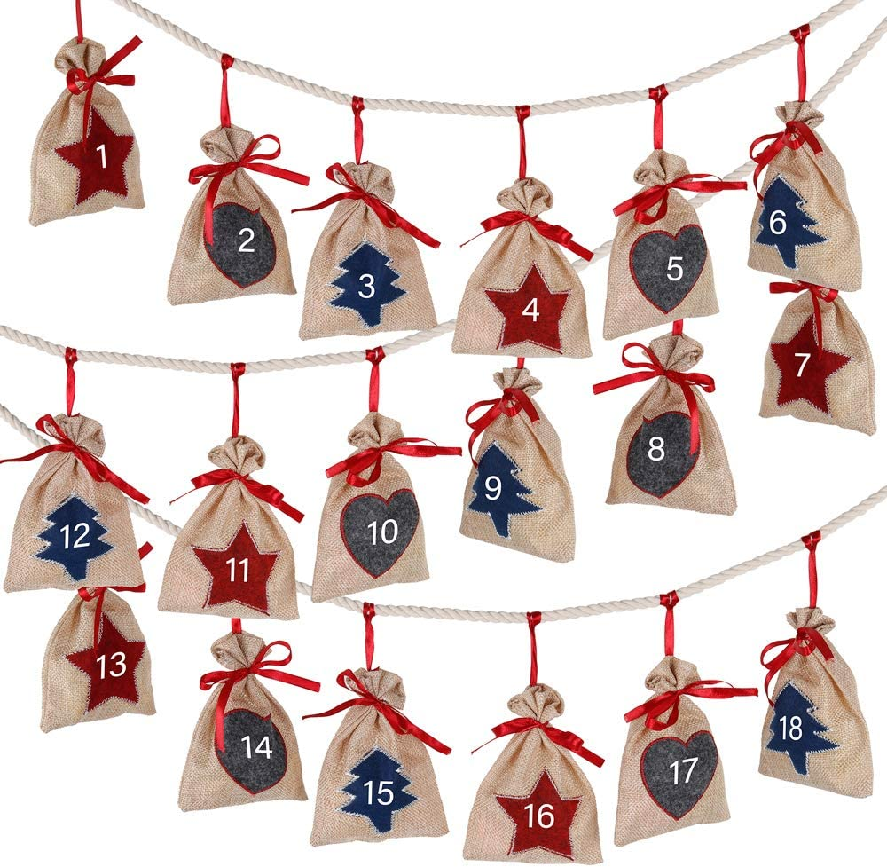 Diy Advent Calendar Bags Make Your Own Advent Calendar Xmas Small Gift Bags To Fill With 1-24 Stickers DazSpirit 24 Christmas Advent Calendar 2020 Hidden Surprise To Your Loved Ones Bags