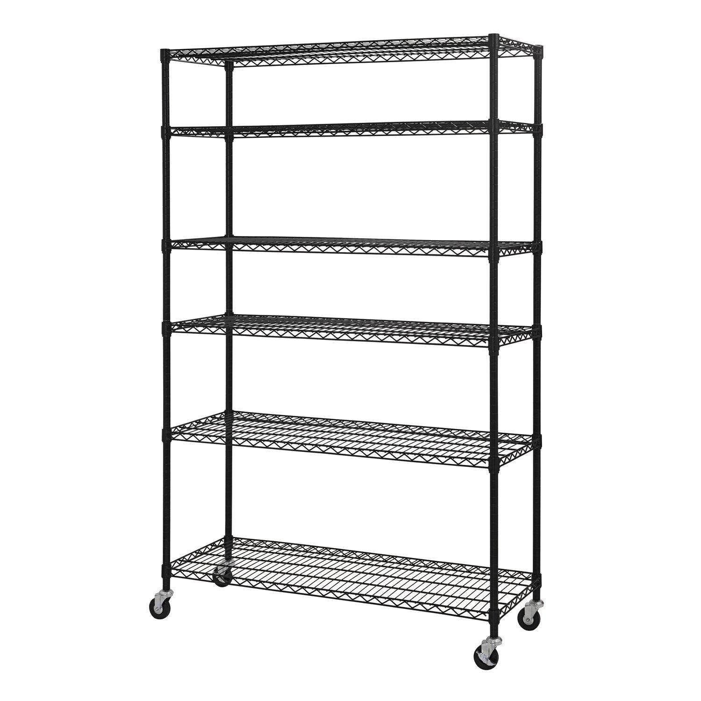 Wire Shelf Unit   Amazon Com Sandusky Lee Mws481874 B 6 Tier Wire Shelving Unit With