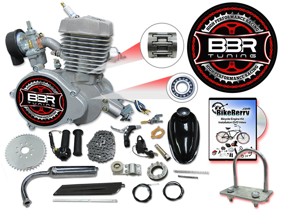 Bbr Tuning 66 80cc Black Motorized Bicycle Kit 2 Race Engines Fuel System Diagram Stroke Gas Powered Bike Motor Engine Automotive