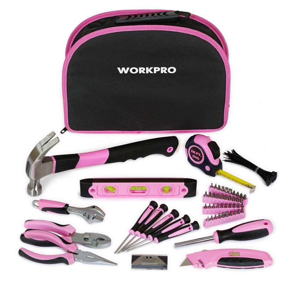 WORKPRO 103-Piece Pink Tool Kit - Ladies Hand Tool Set with Easy Carrying Round Pouch - Durable, Long Lasting Chrome Finish Tools - Perfect for DIY, Home Maintenance by WORKPRO