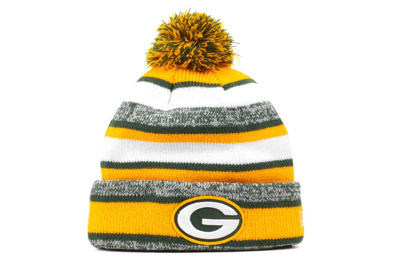 Amazon.com   New Era Green Bay Packers 2014 On Field Sport Cuffed Pom Knit  Beanie Hat Cap   Sports   Outdoors 28f5c6295be