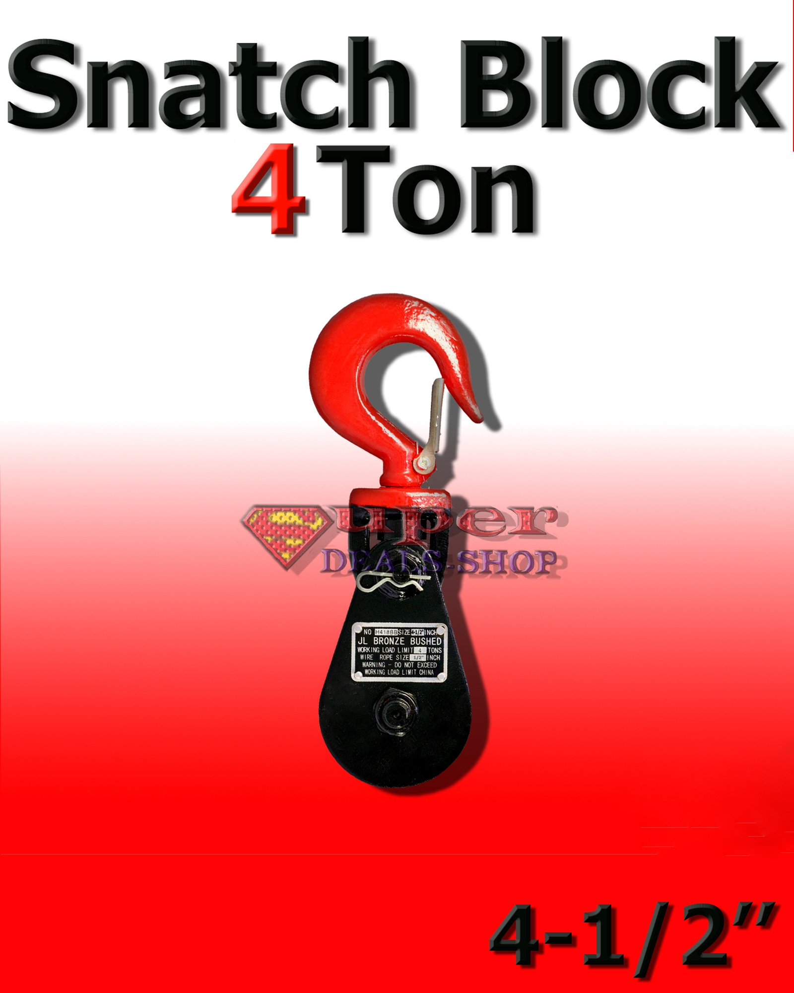 4-1/2-Inch 4 Ton Snatch Block with Swivel Hook Choose Size In Listing Quiet and Long Life Super-Deals-Shop