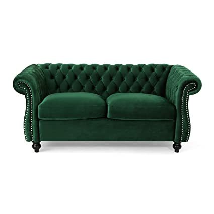 Christopher Knight Home 306028 Karen Traditional Chesterfield Loveseat Sofa, Emerald and Dark Brown,