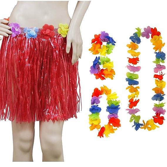 Angies Fashion® Juego de 5 piezas de falda hawaiana con diadema ...