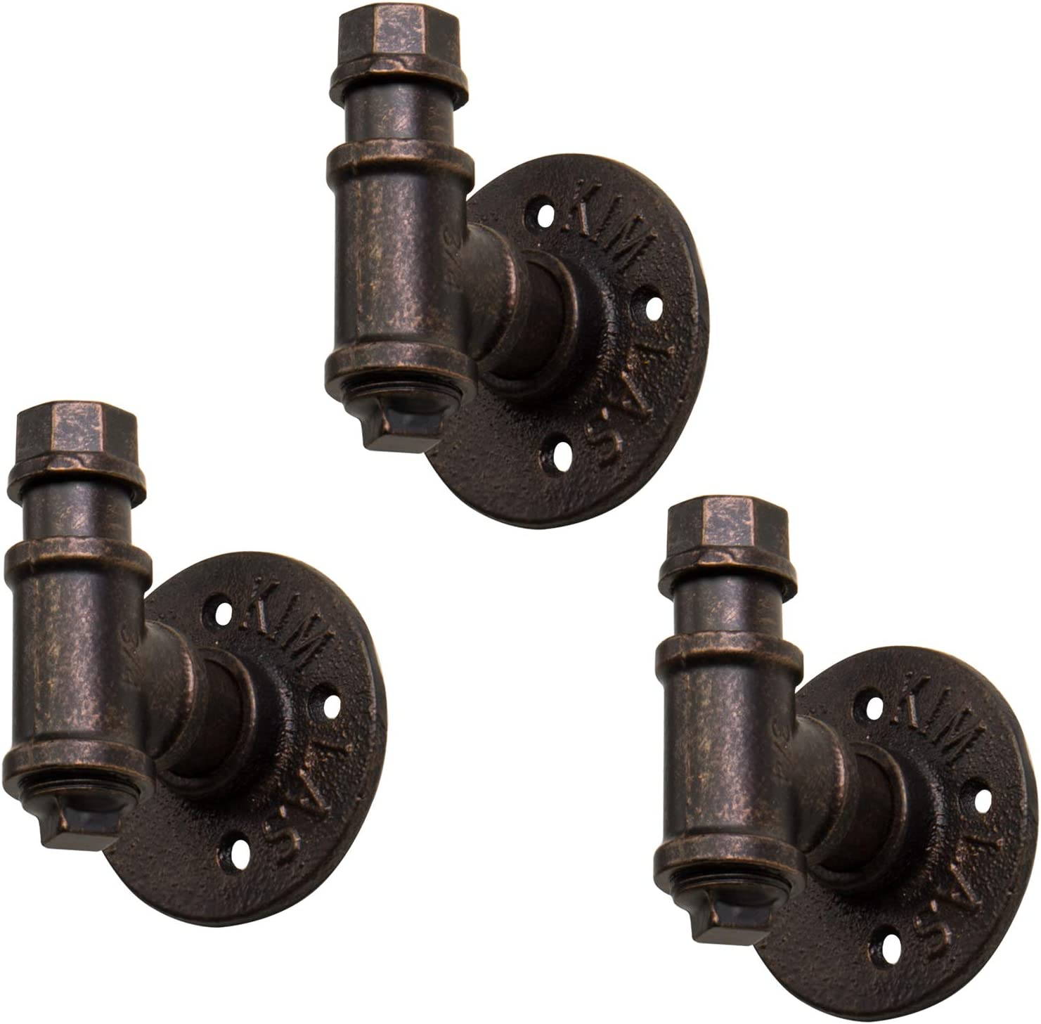 MyGift Industrial Rustic Copper-Tone Metal Pipe Design Wall Hooks, Set of 3