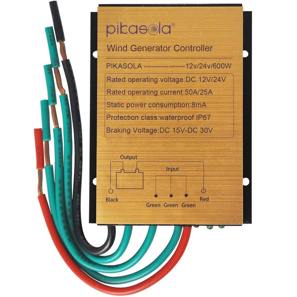 Pikasola Wind Turbine Charge Controller Mini Wind Turbine Generator Controller IP67 Waterproof 12V/24V Automatic Controller Suitable for 400Watt 500Watt 600Watt Wind Turbine System