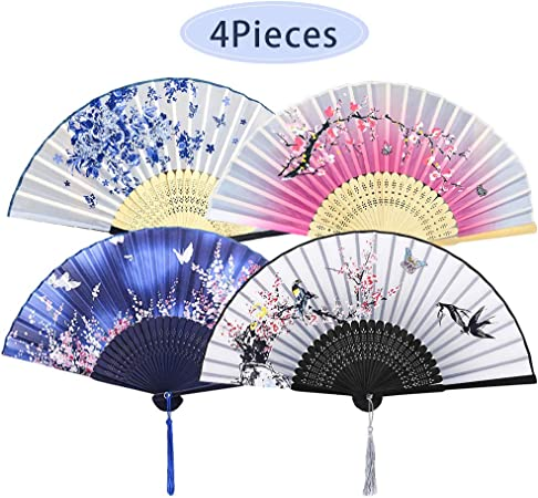 Chinese Japanese Folding Silk Bamboo Pocket Fan Red Flower Engraved Clear