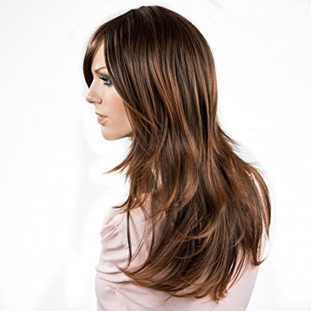 Amazon.com : Namecute Long Ombre Brown Wig Natural Curly Kanekalon Synthetic Wigs for Women+ Free Wig Cap : Beauty