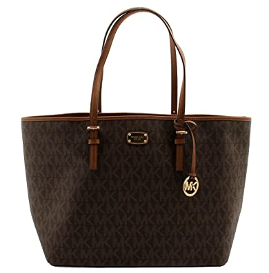 47c0b93816bb Amazon.com: MICHAEL KORS Jet Set Signature Carryall PVC Large Tote Shopper  Bag in Brown: Shoes