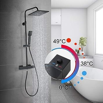 WOWOW - Columna de ducha termostática con alcachofa cuadrada ...