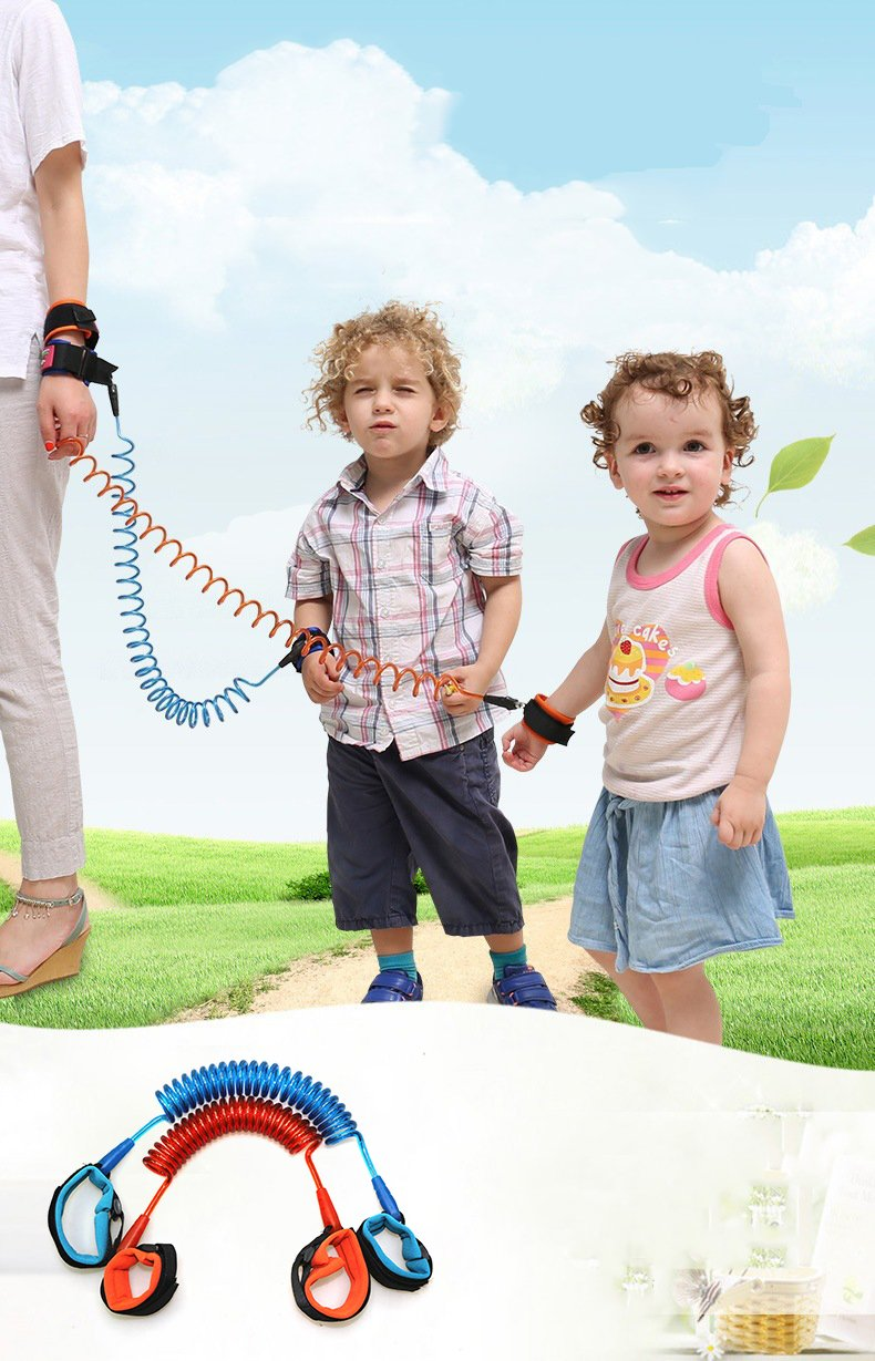Child Leash: Anti-Lost Wrist Link (2 PACK), Safety Velcro Strap For Toddlers - Kid and Baby Leashes - Hand Belt / Safety Harness Restraint (2m Orange and Blue Colors)