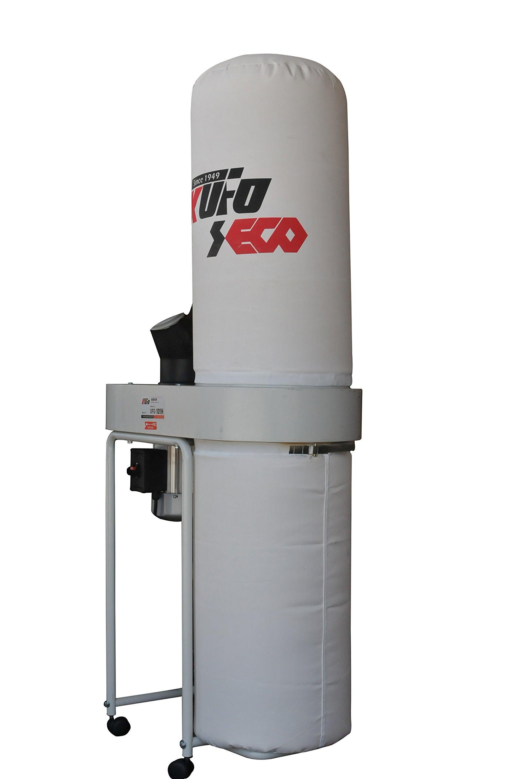 Kufo Seco UFO-101H3, 2HP, 3phase 220/440V (prewired 220V) 1550 CFM Vertical Bag Dust Collector