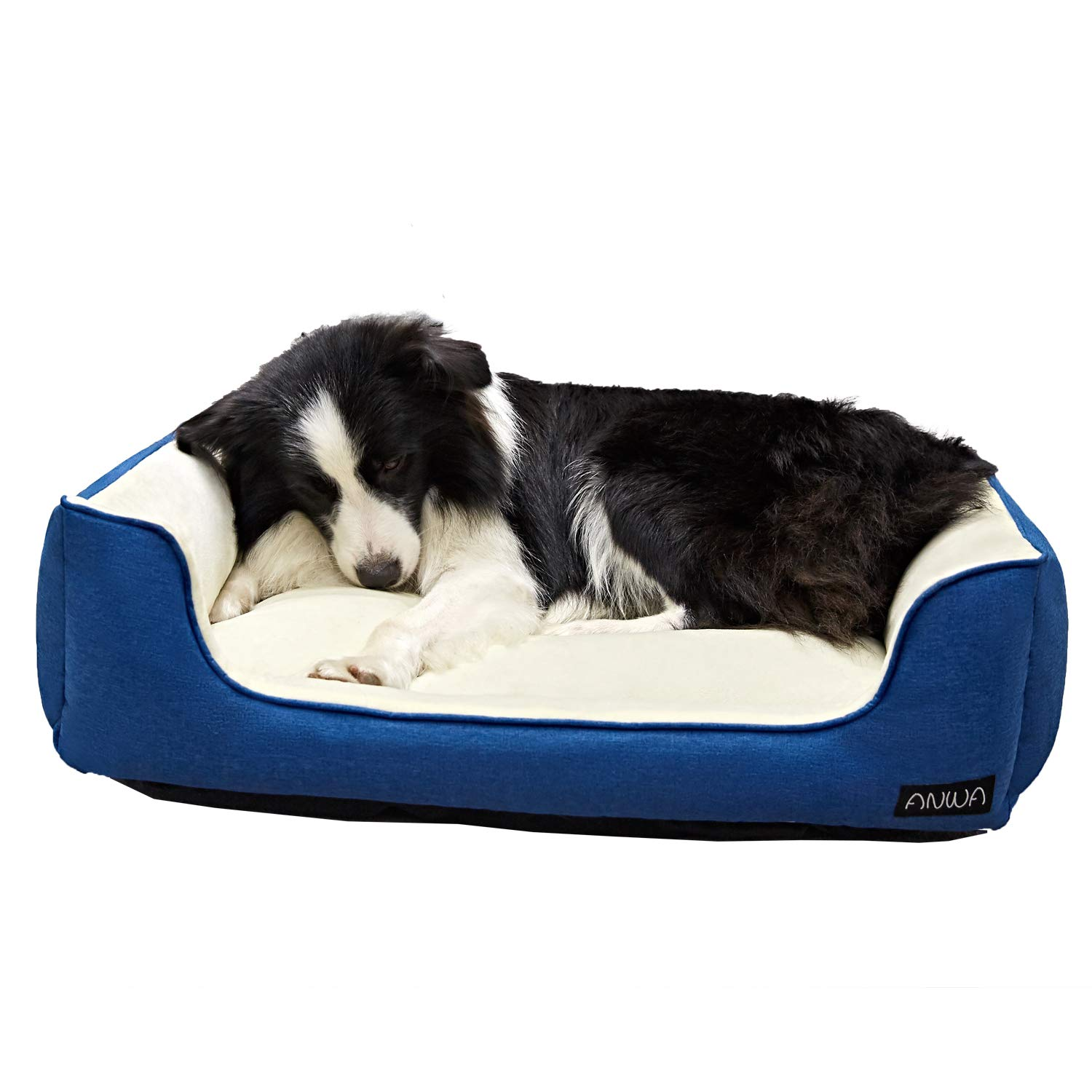 ANWA Dog Bed Machine Washable Bed Cozy Pet Bed Soft Plush for Large Medium Dogs