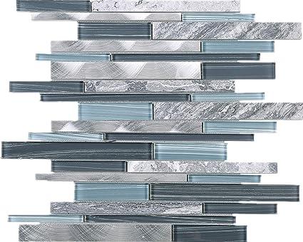 Amazon.com: TISTG-10 Random Brick Grey Blue Glass Mix Stone ...