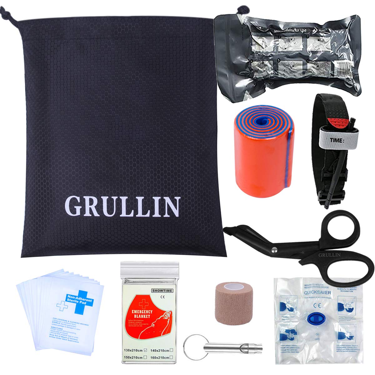 GRULLIN First aid Accessories Supplementary 38 Pieces Kit- CPR Mask Emergency Blanket Alcohol Pad Israeli Bandage Tourniquet (Supplementary Kit) by GRULLIN