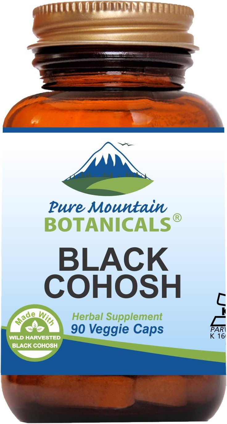 Black Cohosh Capsules – 90 Kosher Vegan Caps – Now with 500mg Wild Black Cohosh Root – Natures Support for Menopause