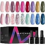 MAYCHAO Gel Nail Polish Set, 21Pcs Glitter Gel Nail Polish, Mermaid Pink Blue Purple Nail Polish Gel, Soak Off Gel Nail Sets