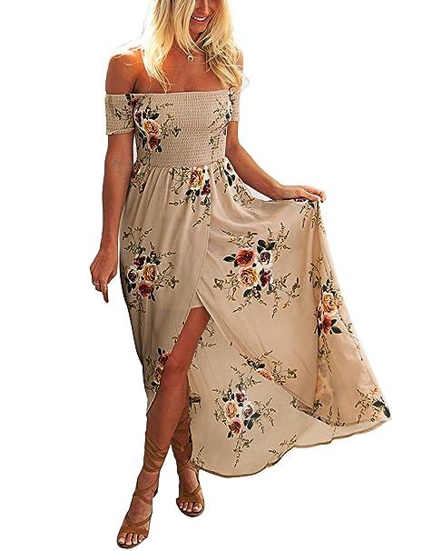 87a10677c5c8 ISASSY Vestiti Donna Eleganti Estivo Lungo Vestito Spalla Nuda Floreale  Spiaggia Abito pacco Partito Cocktail Marrone Chiaro M(UK8-10) (EU36-38)   Amazon.it  ...